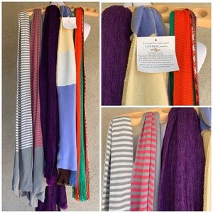 Lot of Five Knit Long Scarves